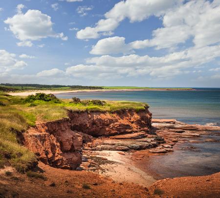 east coast: Red cliffs of Prince Edward Island Atlantic coast at East Point, PEI, Canada.