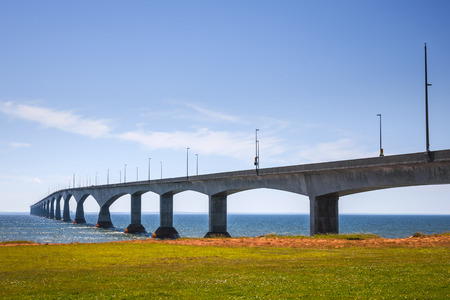 confederation: Landscape of Confederation Bridge from Borden-Carleton, Prince Edward Island, Canada Stock Photo