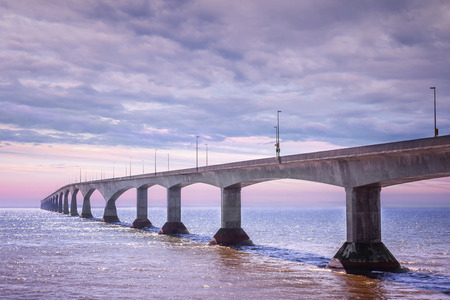 confederation: Sunset at Confederation Bridge from Borden-Carleton, Prince Edward Island, Canada Stock Photo