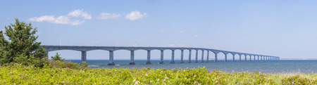 confederation: Panorama of Confederation Bridge to Prince Edward Island from New Brunswick coast  in Canada Stock Photo