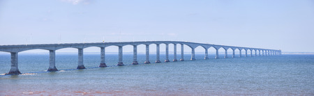 confederation: Panoramic view of Confederation Bridge from New Brunswick Canada. Stock Photo
