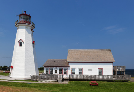 edward: EAST POINT, PRINCE EDWARD ISLAND, CANADA - JULY 17 2014: East Point Lighthouse and cafe in Prince Edward Island, Canada