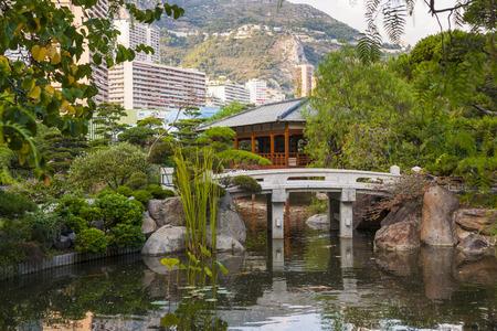 monte carlo: MONTE CARLO, MONACO - OCTOBER 3, 2014: View of Japanese garden in Monte Carlo, Monaco