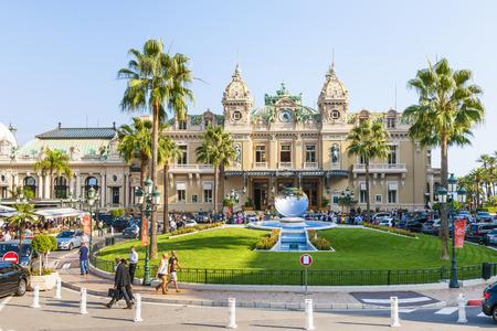 anish: MONTE CARLO, MONACO - OCTOBER 3, 2014: Monte Carlo Casino in Monaco with Sky Mirror sculpture by Anish Kapoor in front Editorial