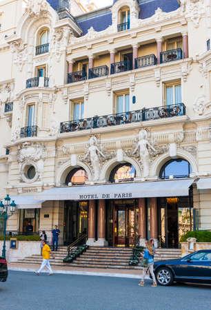 MONTE CARLO, MONACO - OCTOBER 3, 2014: Entrance to Hotel de Paris in Monte Carlo, Monaco