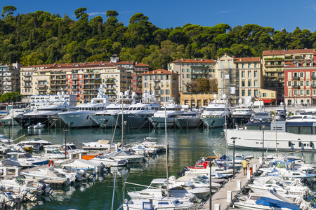 harbors: NICE, FRANCE - OCTOBER 2, 2014: Port of Nice is one of the main harbors for the leisure boats sailing across the Mediterranean Sea.