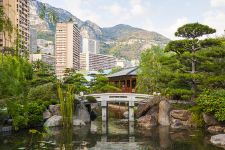carlo: MONTE CARLO, MONACO - OCTOBER 3, 2014: View of Japanese garden in Monte Carlo, Monaco