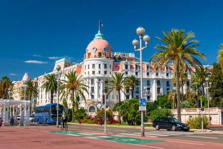 nice  france: NICE, FRANCE - OCTOBER 2, 2014: Hotel Negresco on the English promenade (Promenade des Anglais) is one of the famous landmarks of the city.