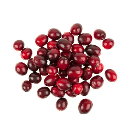 fresh: Heap of fresh red ripe cranberries isolated on white background