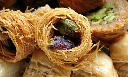 baklawa: Close-up of various traditional Arabic sweet pastries.