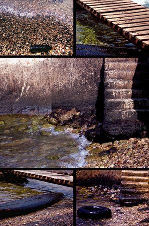 oil spill: Un collage di diverse prende di una fuoriuscita di idrocarburi lavato a terra vicino alla citt� di Batroun libanese.