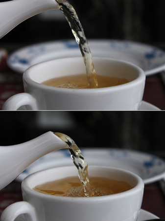 Collage of two photos showing a sequence of pouring green tea into a cup  photo