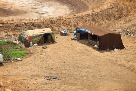 nomads: Tents in Lebanese mountains for the homeless refugees and Bedouins.