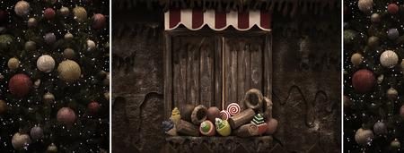 casita de dulces: Un collage de la vendimia de la Navidad del �rbol y caramelos casa.