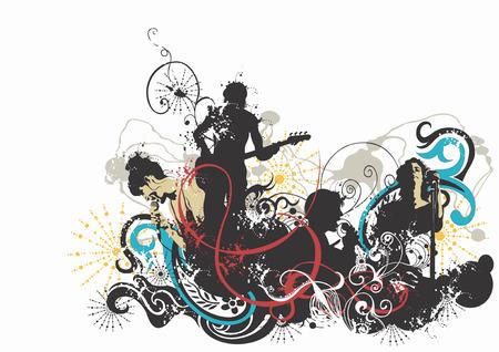 tocando musica: Grungy ilustraci�n de personas cantando y tocando m�sica Vectores