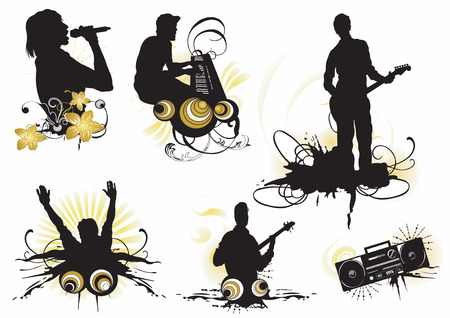 gig: Illustration of musicians and design elements