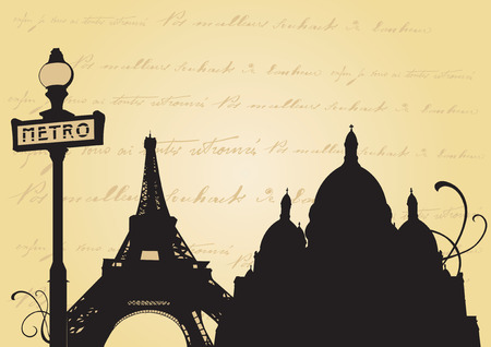montmartre: Illustration of the Eiffel tower