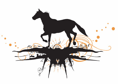 Illustration of a horse and grungy patterns Vector