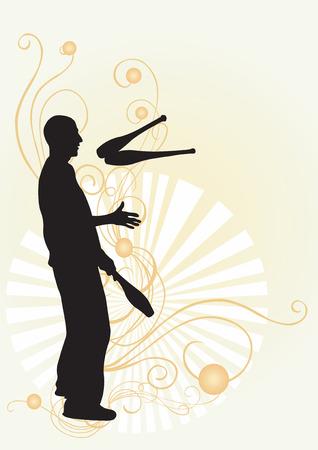 juggler: Illustration of a juggler and decorative patterns