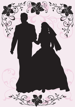 stylish couple: Illustration of a groom and a bride Illustration