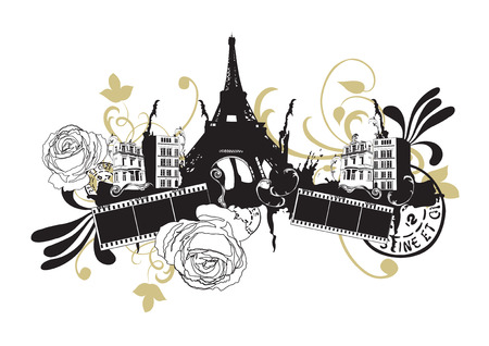 Illustration of the Eiffel tower and decorative patterns Illustration