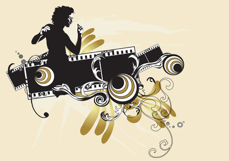 Illustration of a woman and decorative patterns Vector