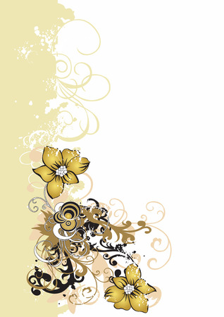 grungy background: Illustration of flowers on a grungy background