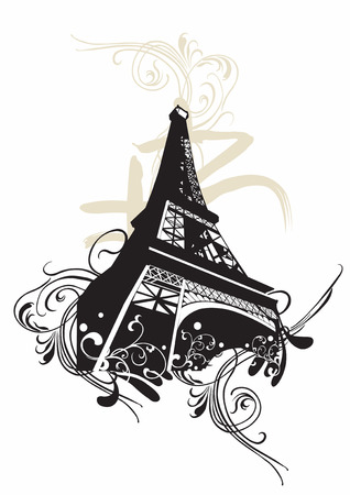 Illustration of the Eiffel tower and decorative patterns Stock Vector - 3236756
