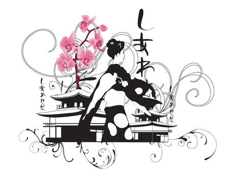 geisha: Illustration of a geisha and japanese patterns