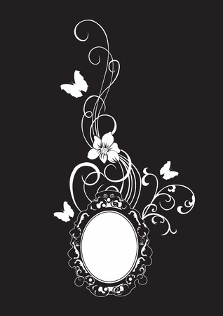 vintage frame vector: Illustration of a retro frame and butterflies