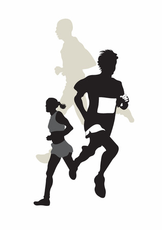 runners: Illustration of three marathon runners