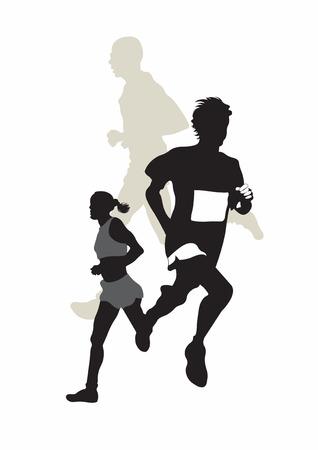 maraton: Ilustraci�n de tres corredores de marat�n  Vectores