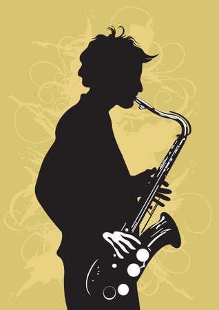 saxophone: Illustration of a man playing saxophone