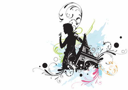 Illustration of the Eiffel tower and a dancing woman Vector