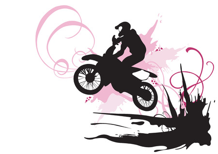 motorbike jumping: Illustration of a motocross rider