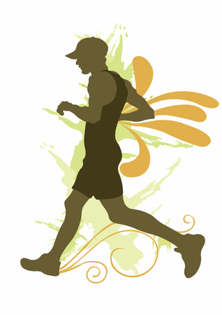 joggers: Illustration of a running man and decorative patterns