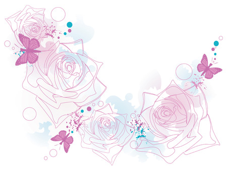 Illustration of a decorative background with roses and butterflies