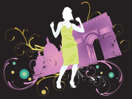 Illustration of a dancing woman and the Triumphal Arch Vector