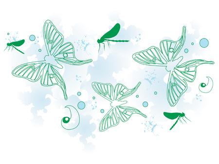 Illustration of a decorative background with butterflies Vector