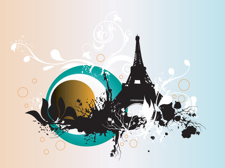 Illustration of the Eiffel Tower and decorative patterns Stock Vector - 3427856