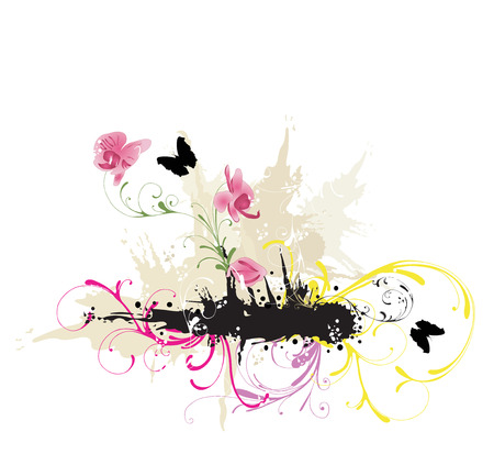 Illustration of a grungy background with flowers and butterflies Vector