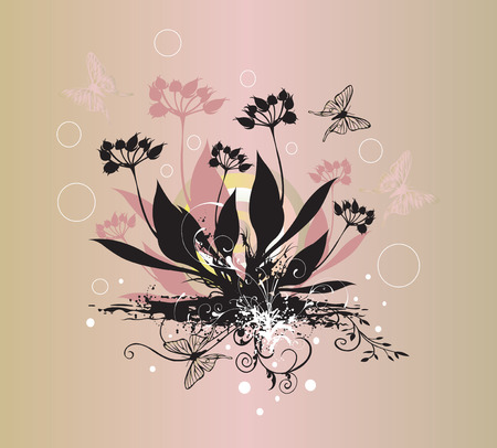 buttefly: Illustration of a floral background