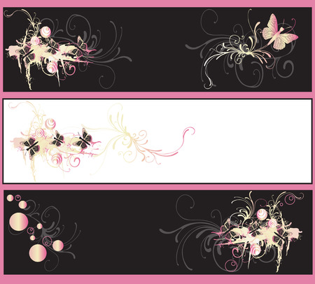 Set of decorative banners with grungy patterns Stock Vector - 3844516