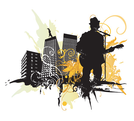 Illustration of a guitarist and urban buildings Vector