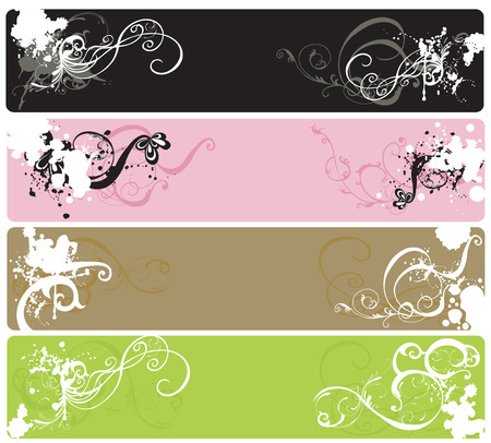 Set of decorative banners with grungy patterns Vector