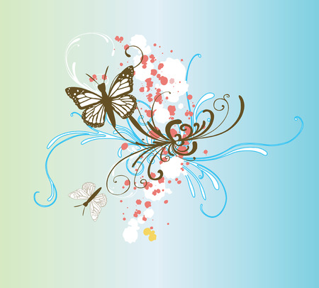 Illustration of butterflies and abstract patterns Vector