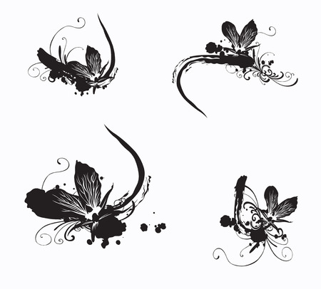 Set of grungy designs elements with orchids Vector