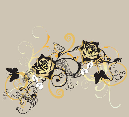 rose butterfly: Illustration of roses and decorative patterns