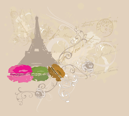 Illustration of the Eiffel Tower and macaroons Vector