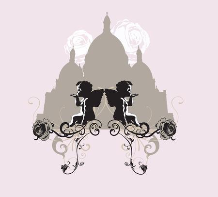 montmartre: Illustration de la Basilique de Sacre-Coeur de Paris Illustration